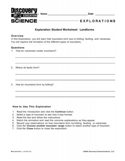 Exploration Student Worksheet Ferns And Mosses
