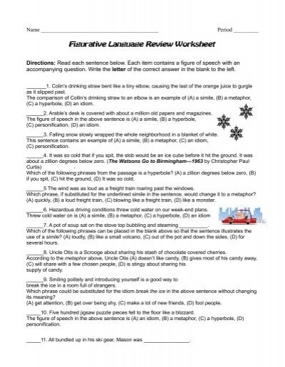 Figurative Language Review Worksheet - Reeths-Puffer Schools