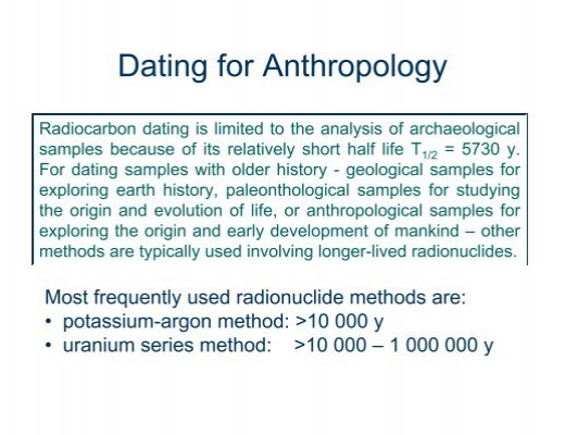 Radiometric dating techniques available to anthropologists