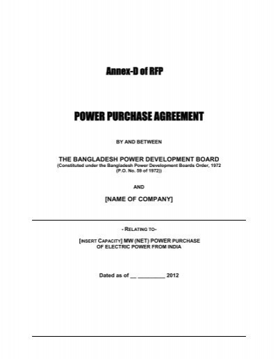 Power Purchase Agreement Between Bpdb And India