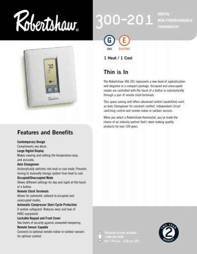 300-201 Non Programmable - Robertshaw Thermostats