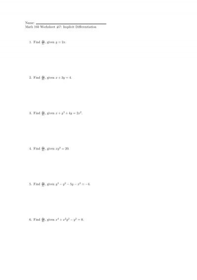 Name: Math 103 Worksheet #3: Continuity 1. Using Limits, how do ...