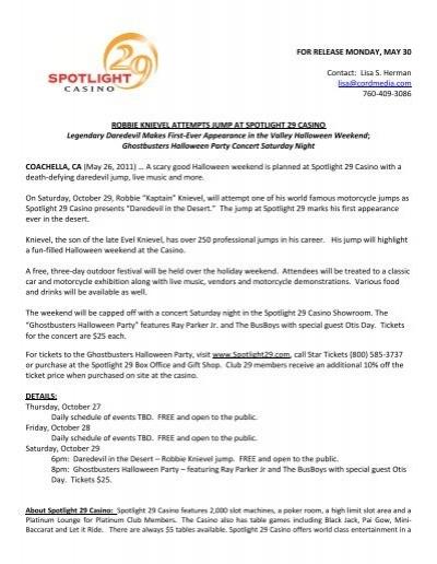 Spotlight 29 casino concerts schedule