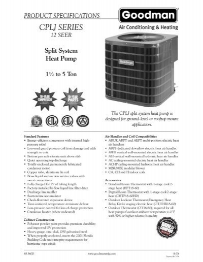 Mobile Air Compressor >> Goodman CPLJ Series Spec Sheet - Alpine Home Air Products