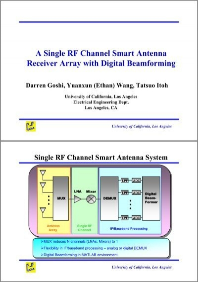 A Single RF Channel Smart Antenna Receiver Array with