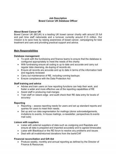 Job Description Bowel Cancer Uk Database Officer About Bowel