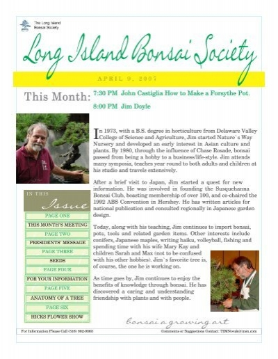 April The Long Island Bonsai Society