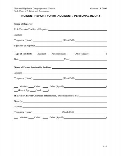 incident report form  accident  personal injury
