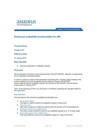 2009-11-23 THIRD PARTY - Enhanced availability     - Amadeus