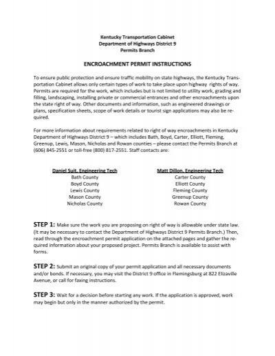 District 9 Encroachment Permit - Kentucky Transportation Cabinet