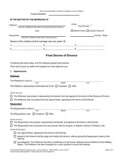 Final Decree of Divorce - LegalFill