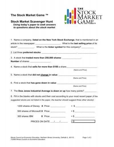 Stock Market Scavenger Hunt