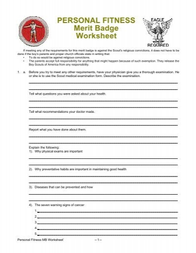 Printables Personal Fitness Merit Badge Worksheet fitness merit badge worksheet davezan physical davezan