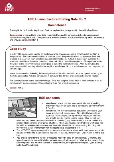 Hse Human Factors Briefing Note No 2 - Competence