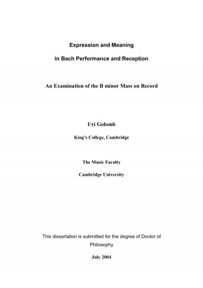 Expression And Meaning In Bach Performance And Reception An