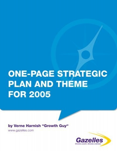 One Page Strategic Plan And Theme For 2005 1