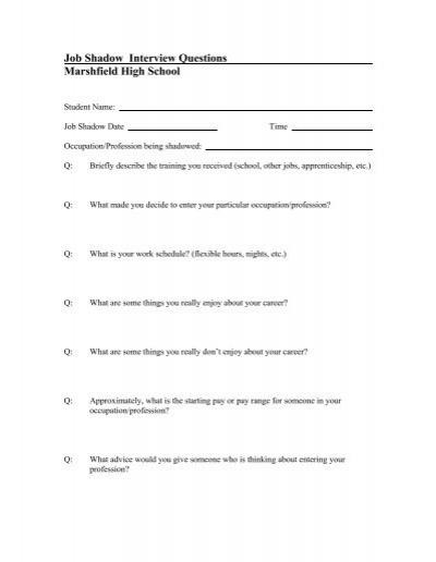 job shadow interview questions marshfield high school