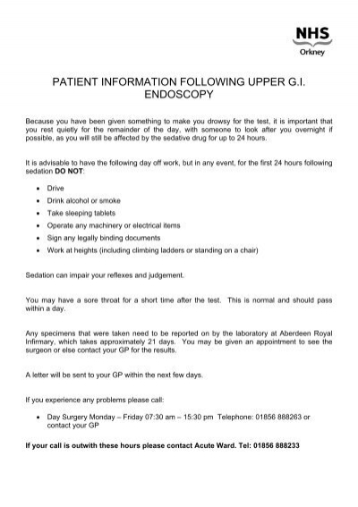 patient information following upper gi endoscopy - NHS Orkney