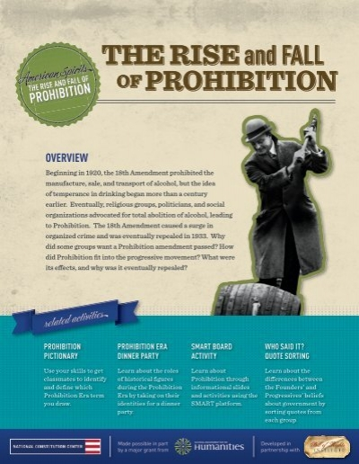 "american prohibition essay Prohibition and the american people abraham lincoln, arguably the greatest president in american history, is believed to have said, ""prohibition will work great injury to the cause of temperance."