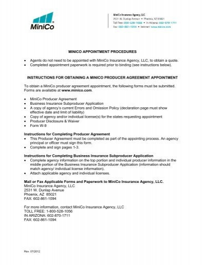 Producer Agreement Form