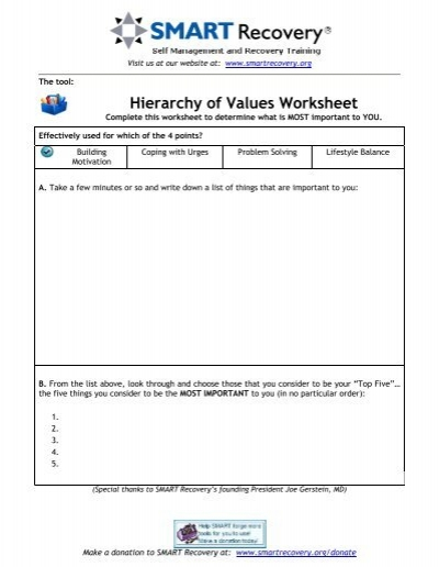 Worksheets Change Plan Worksheet change plan worksheet smart recovery intrepidpath hov hierarchy of values recovery