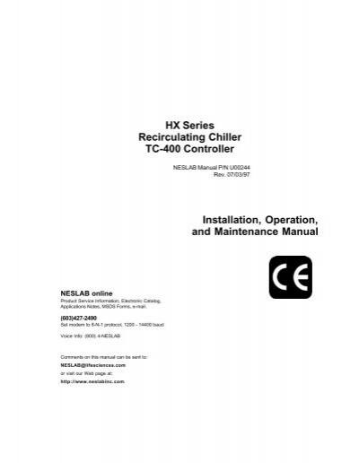 HX Series Recirculating Chiller TC-400 Controller ... - Chiller City | Hx Chiller Wiring Diagram |  | Yumpu