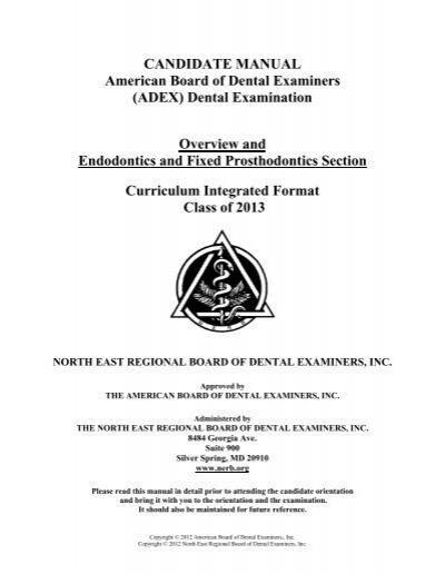 candidate manual american board of dental examiners adex rh yumpu com