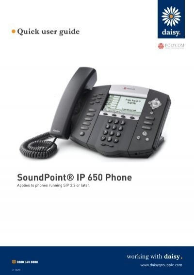 quick start guide polycom soundpoint ip 650 daisy group plc rh yumpu com polycom soundpoint ip 550 quick user guide Polycom IP 550 Headset
