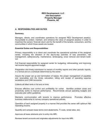 General Manager Job Description - Red Development LLC
