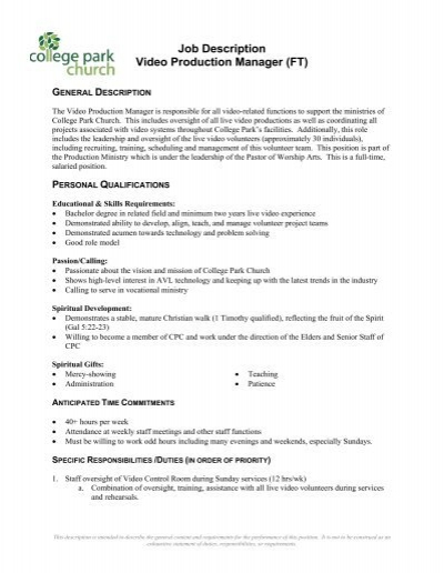 Production Manager Job Description Responsibilities Of A – Production Director Job Description