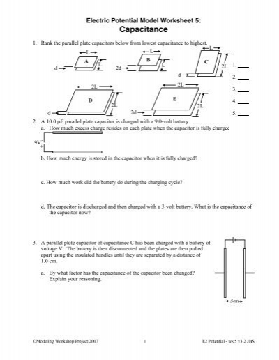 Worksheet 5: Capacitors and Capacitance - Modeling Physics
