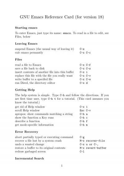 gnu emacs reference card rh yumpu com Quick Reference Guide Icon Quick Reference Guide Examples