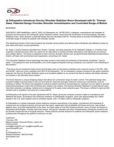 Dj Orthopedics Introduces Donjoy Shoulder Stabilizer Djo Global