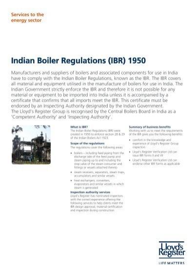 Indian Boiler Regulations (IBR) 1950 - Lloyd\'s Register