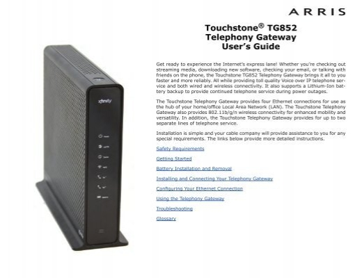 touchstone tg852g ct telephony gateway user s guide arris rh yumpu com Arris Wireless Modem Xfinity Modem Router