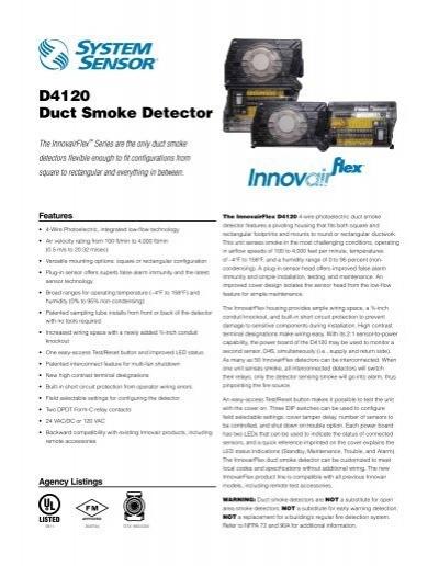 D4120 Duct Smoke Detector System Sensor