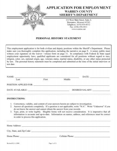 Riverside Sheriff Department Personal History Statement Image