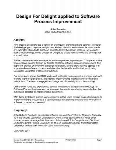Design For Delight Applied To Software Process Pnsqc