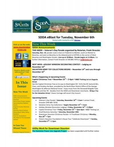 Staunton Christmas Parade 2021 Route Sdda Eblast For Tuesday November 6th Staunton Downtown