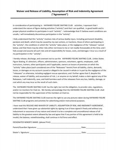 Liability Waiver  Release Form  Hayward Sports Center