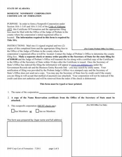 Domestic Nonprofit Corporation Certificate of Formation