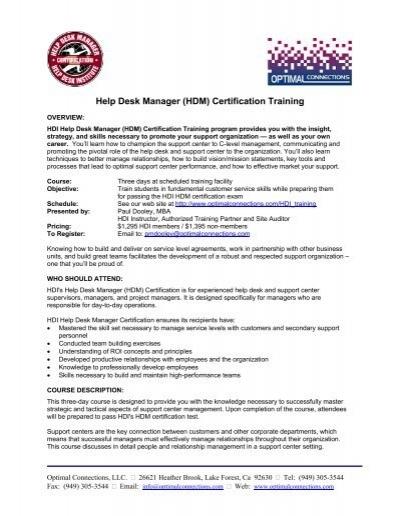 Help Desk Manager (HDM) Certification Training - Optimal ...