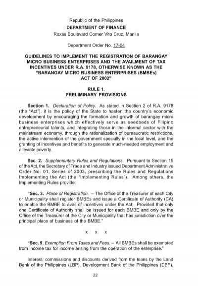 barangay micro business enterprises act Republic act no 9178 an act to promote the establishment of barangay micro business enterprises (bmbes), providing incentives and benefits therefor, and for other purposes.