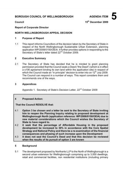 Committee Report Template   March 09   Wellingborough Borough .