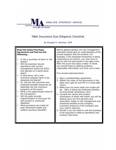Ma insurance due diligence checklist montclair risk advisors spiritdancerdesigns Choice Image