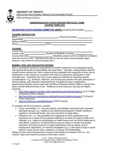 Ethics undergrad protocol form course template for Protocol document template