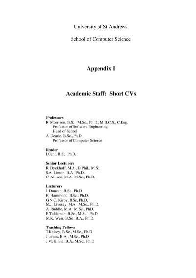 appendix i academic staff short cvs the school of computer
