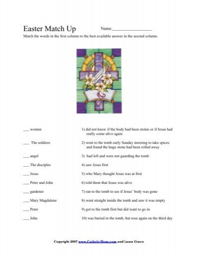 easter match up worksheet catholic mom. Black Bedroom Furniture Sets. Home Design Ideas