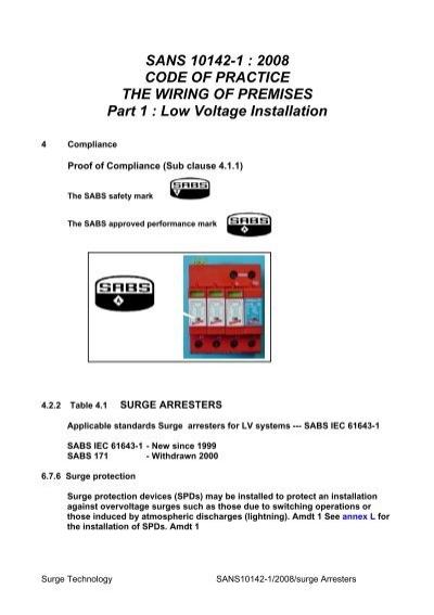 sans 10142 1 2008 code of practice the surgetek rh yumpu com Romex Wiring Code Home Wiring Codes