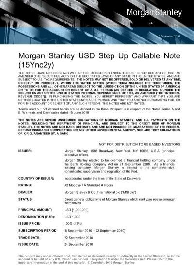 Morgan Stanley USD Step Up Callable Note (15Ync2y)